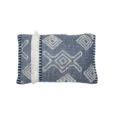 Blue and White Hand Woven 14 x 22 inch Outdoor Decorative Throw Pillow Cover With Insert and Hand Tied Fringe - Foreside Home & Garden