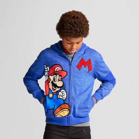 Boys Super Mario Fleece Jacket Hoodie Blue Target