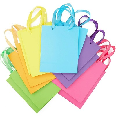 """Blue Panda 12-Pack Rainbow Party Medium Paper Gift Bags with Ribbon Handles Tissue Paper for Birthday 10""""x8"""""""