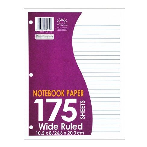 175 Sheet Wide Ruled Filler Paper White - Norcom - image 1 of 1