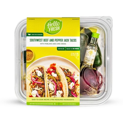 HelloFresh Southwest Beef and Pepper Jack Tacos with Poblano and Lime Crema Meal Kit - 32.4oz