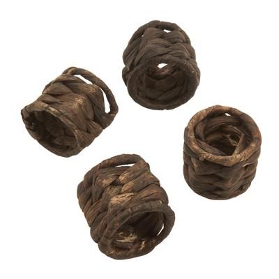 Set of 4 Woven Rattan Design Sea Grass Napkin Ring Brown - Saro Lifestyle