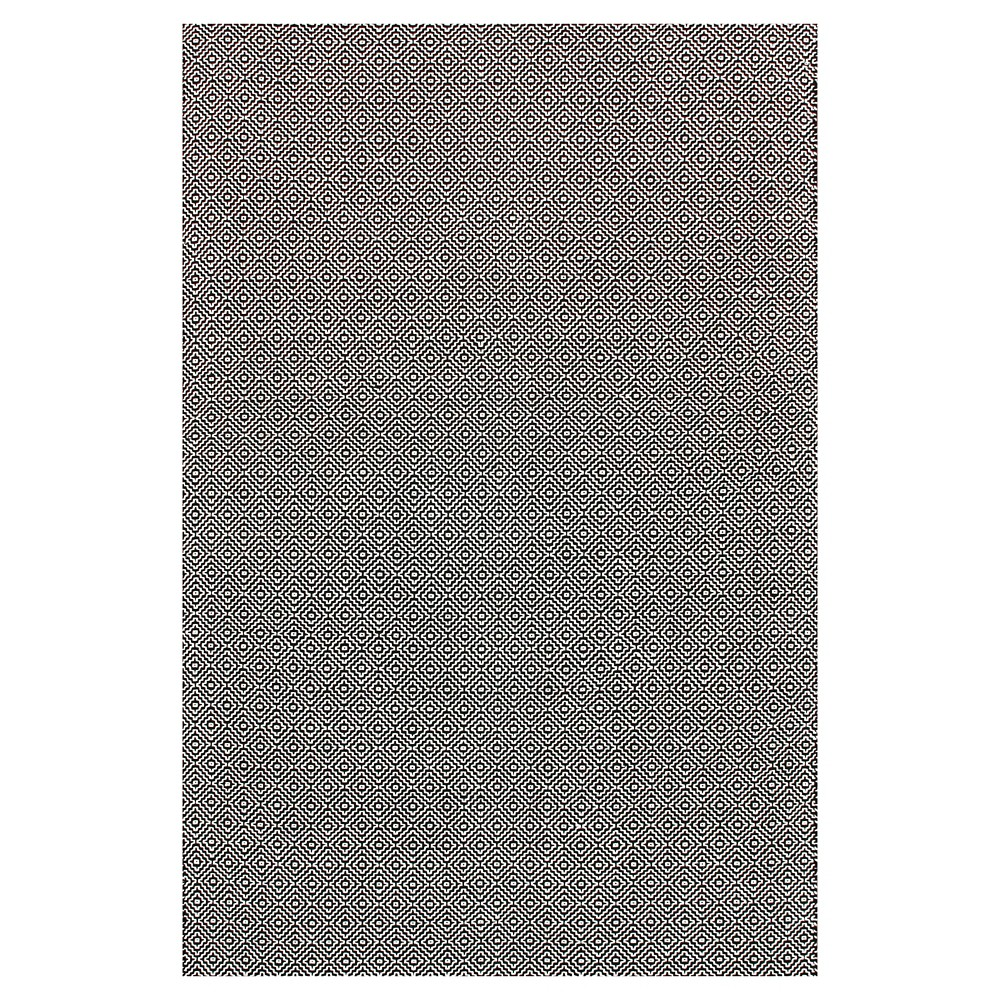 Image of nuLOOM Cotton Hand Loomed Diamond Cotton Check Area Rug - Black (5' x 8')