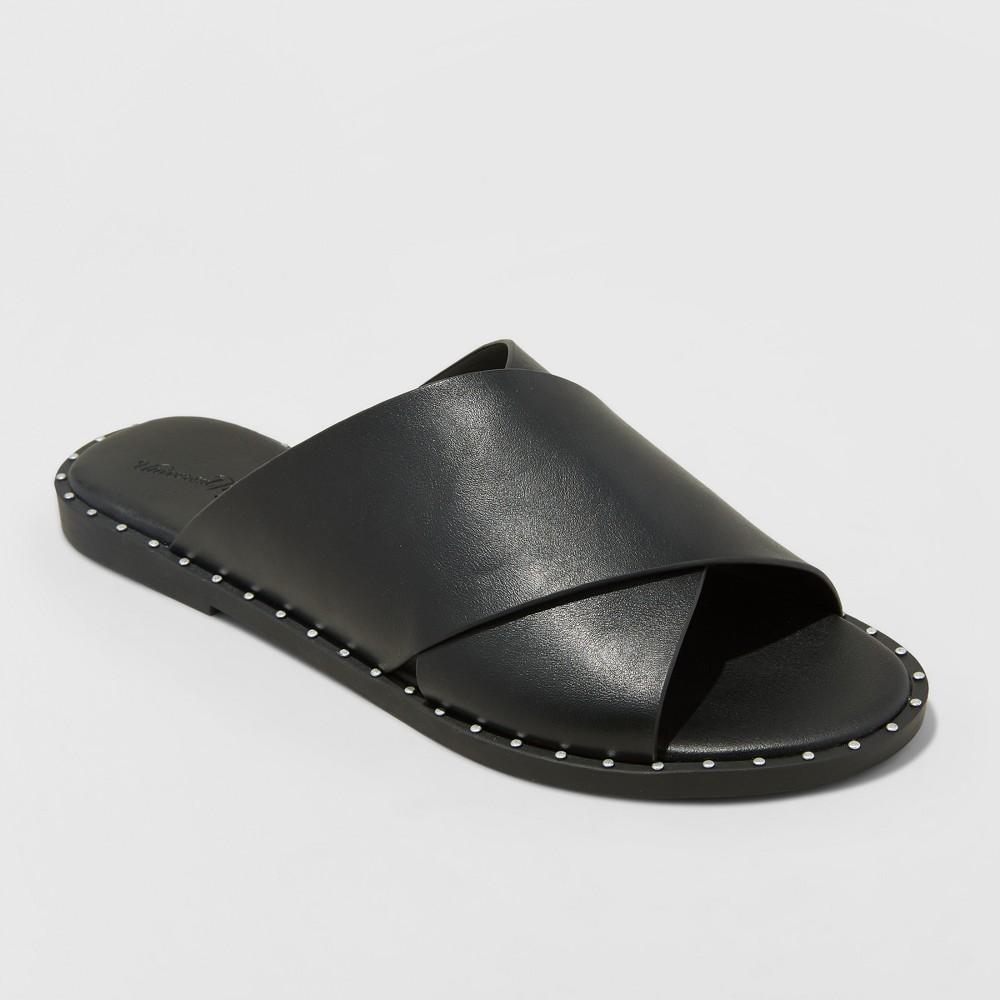 Women's Kyleigh Wide Width Cross Band Slide Sandals - Universal Thread Black 10W, Size: 10 Wide