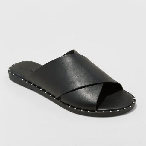 Women's Kyleigh Wide Width Cross Band Slide Sandals - Universal Thread™ Black 11W - image 1 of 3
