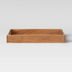 "12"" x 18"" Wood Acacia Serving Tray with Brass Handles - Threshold™"
