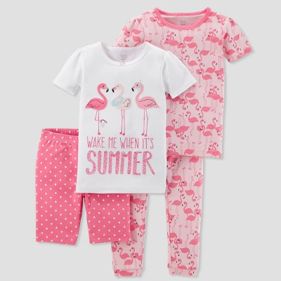 Baby Girls' 4pc Summer Flamingo Pajama Set - Just One You® made by carter's Pink 9M