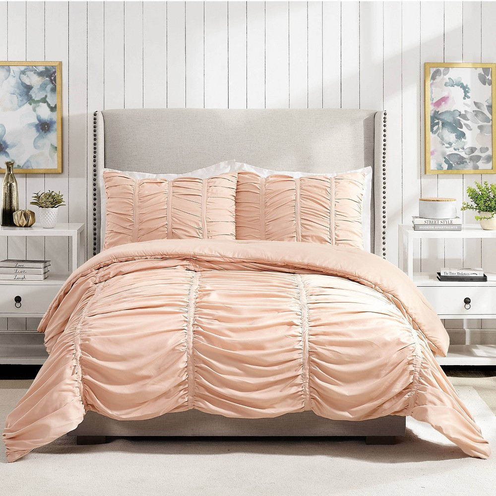 Image of Modern Heirloom Emily Texture Full/Queen Emily Texture Comforter Set Blush