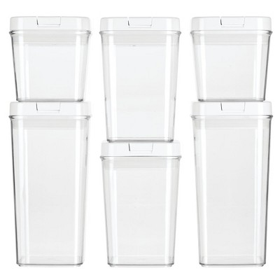 mDesign Airtight Food Storage Container with Lid for Kitchen, Set of 6 - Clear