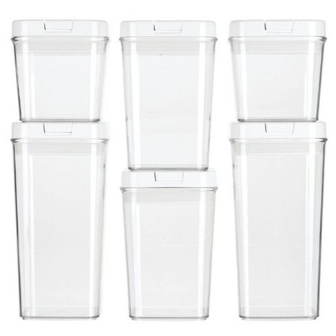 Mdesign Airtight Food Storage Container With Lid For Kitchen Set Of 6 Clear Target