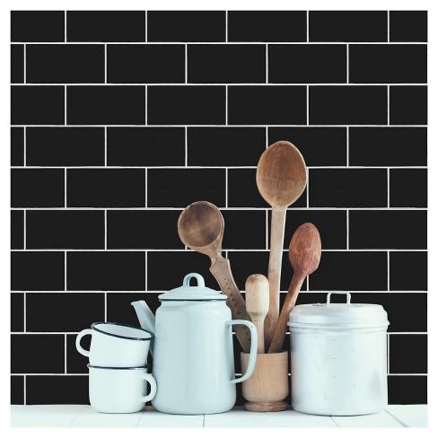 Devine Color Textured Subway Tile L Stick Wallpaper Black