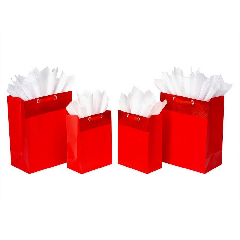 Image of 4ct Red Gift Bag and Tissue Paper Bundle