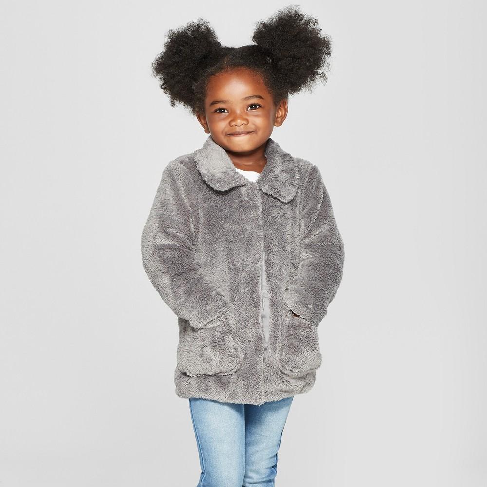 Toddler Girls' Faux Fur Jacket - Cat & Jack Gray 6X