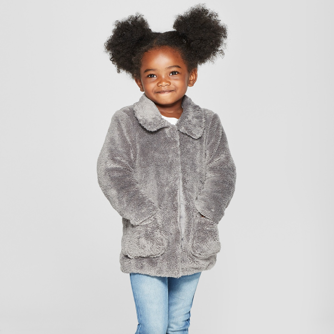 Toddler Girls' Faux Fur Jacket - Cat & Jack™ Gray - image 1 of 3