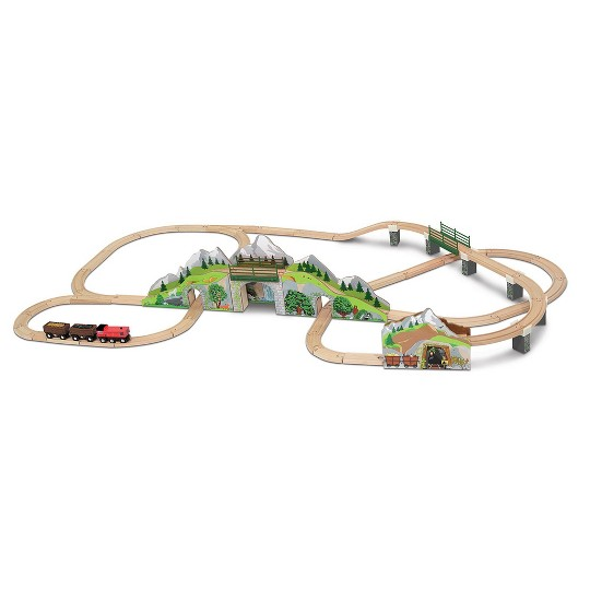 Melissa & Doug Mountain Tunnel Train Set With 2 Tunnels, Sound Effects, Magic Mine Cars (64pc) image number null