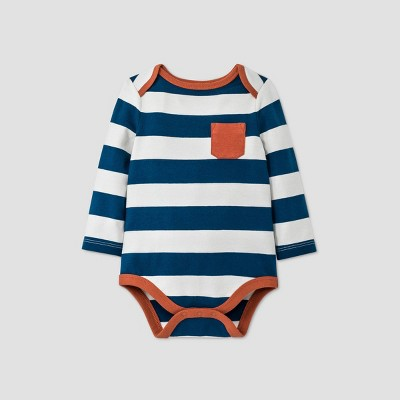 Baby Boys' Striped Long Sleeve Bodysuit - Cat & Jack™ Blue 12M