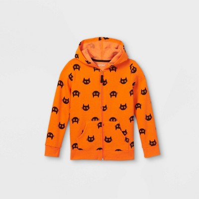 Girls' Halloween Printed Cats Zip-Up Hoodie - Cat & Jack™ Orange