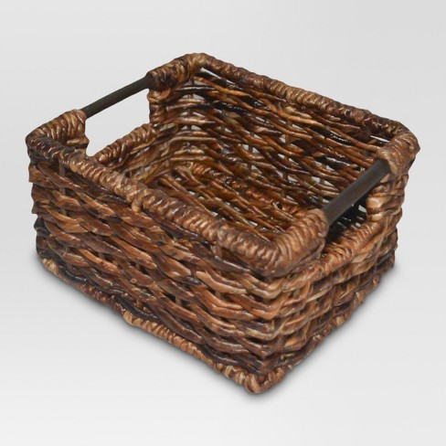 Wicker Extra Small Milk Crate - Dark Global Brown - Threshold™ - image 1 of 1