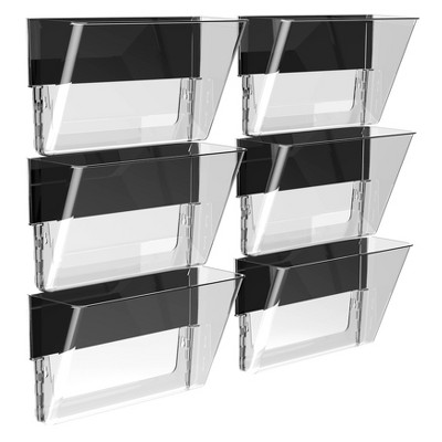 Storex 6pk Magnetic Wall Pockets Letter Size