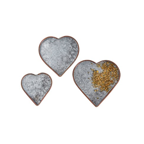 Galvanized Heart Tray Set of 3 - 3R Studios - image 1 of 3