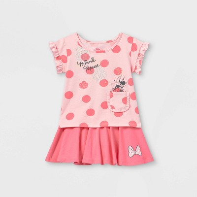 Toddler Girls' Minnie Mouse Polka Dot Short Sleeve Top and Bottom Set - Pink