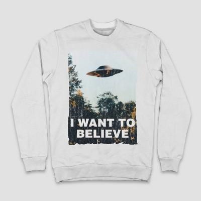Men's The X-Files Crewneck Long Sleeve Graphic Sweatshirt - White