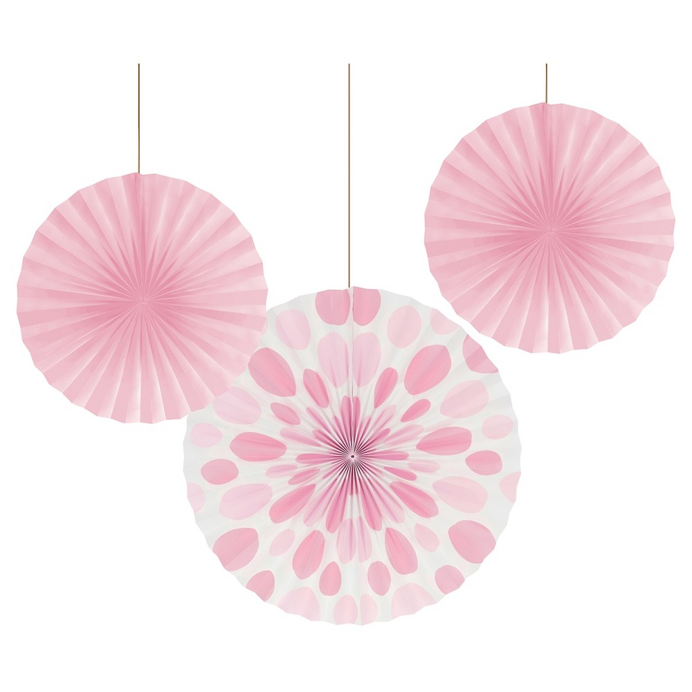 Classic Pink Dots and Stripes Paper Fans - 3 Pack, Women's