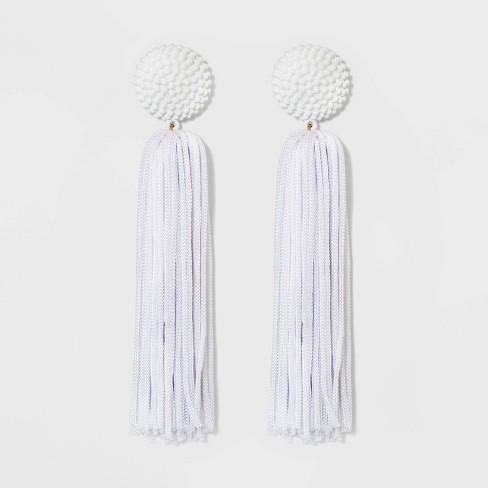 SUGARFIX by BaubleBar Beaded Studs Tassel Drop Earrings - White - image 1 of 2