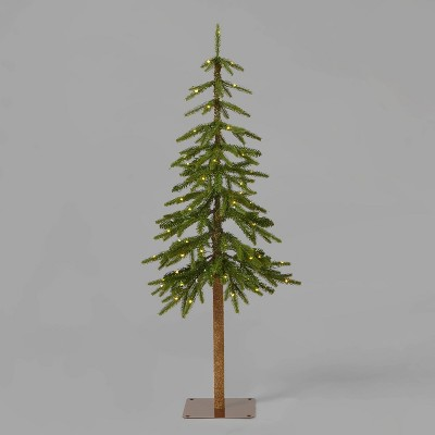 4ft Pre-Lit Downswept Alpine Balsam Artificial Christmas Tree Warm White Dew Drop LED Lights - Wondershop™