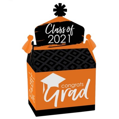 Big Dot of Happiness Orange Grad - Best is Yet to Come - Treat Box Party Favors - 2021 Orange Graduation Party Goodie Gable Boxes - Set of 12