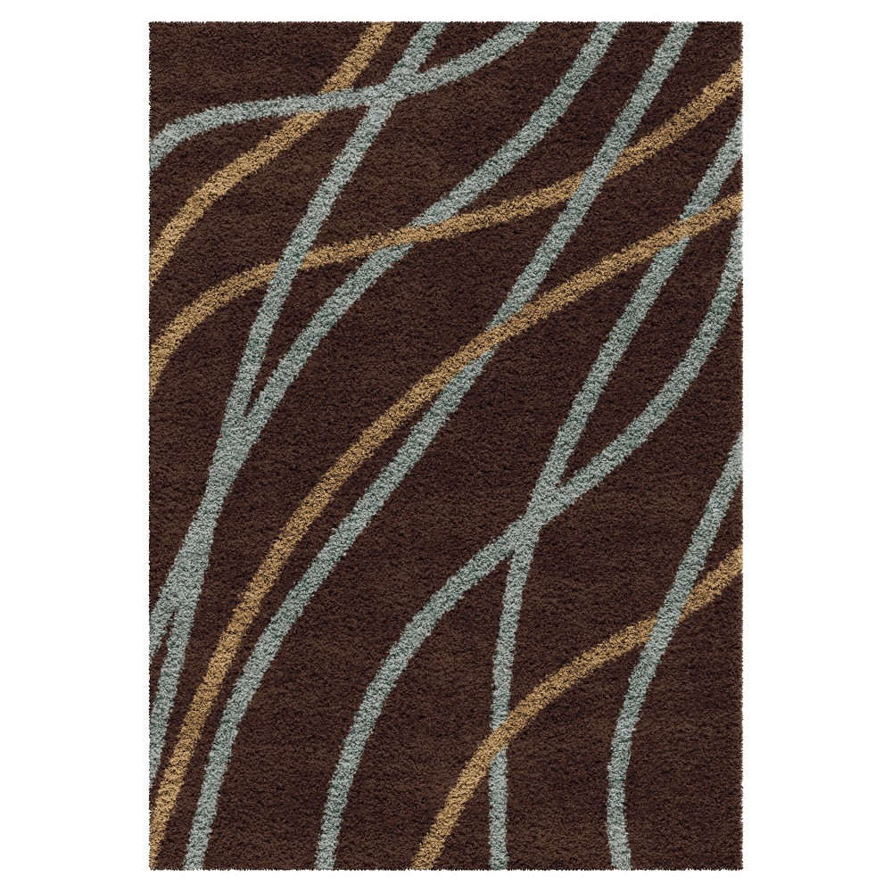 Chocolate (Brown) Abstract Woven Area Rug - (5'3