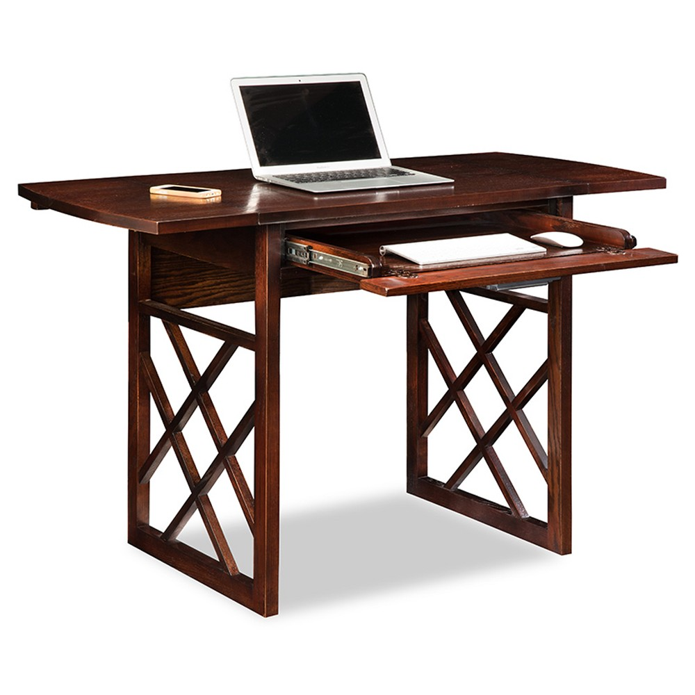 Drop Leaf Computer, Writing Desk - Chocolate (Brown) Oak - Leick Home