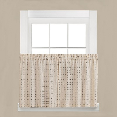 Saturday Knight Ltd Hopscotch Collection High Quality Stylish Versatile & Modern Window Tiers & Valance in Neutral Color