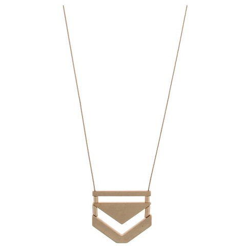 Long Metal Necklace with Casted Triangles and Bars - Gold - image 1 of 2