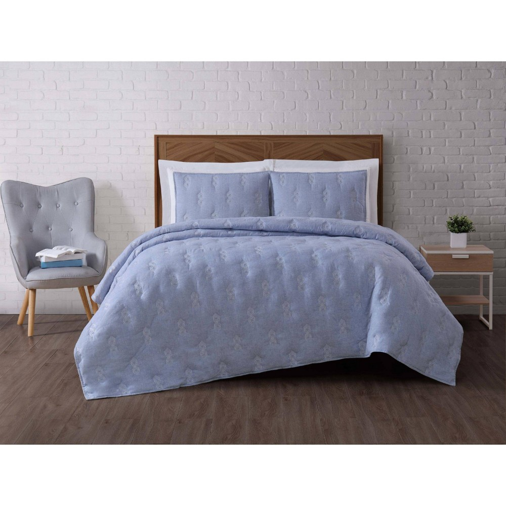 Image of Full/Queen Tender Blue Quilt Set - Brooklyn Loom