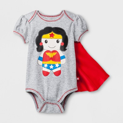 Baby Girls' DC Comics Wonder Woman Short Sleeve Bodysuit with Removable Cape - Gray/Red 0-3M