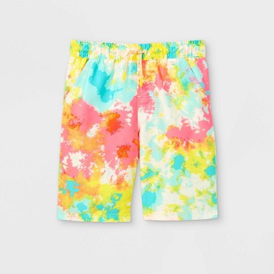 Boys' Tie-Dye Drawstring Swim Trunks - Cat & Jack™ Blue/Pink/Yellow