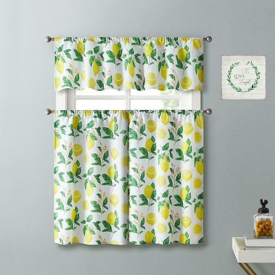 Kate Aurora Country Lemon Vine Complete 3 Piece Kitchen Curtain Tier & Valance Set - 58 in. W x 56 in. L, Multi