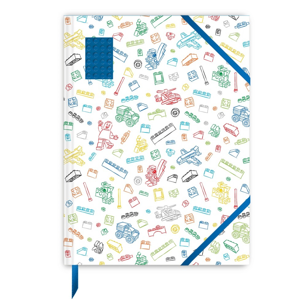 Lego 8.5 x 11.4 Sketchbook - White with Blue Brick, Multi-Colored