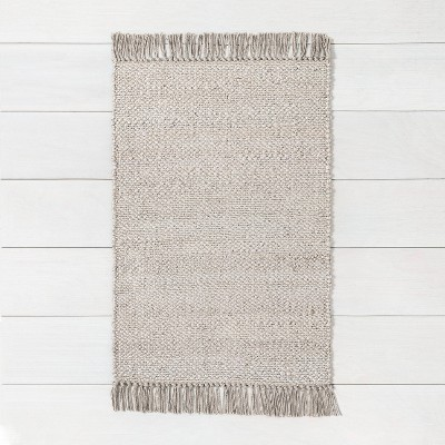 2' x 3' Bleached Jute Fringe Accent Rug Gray - Hearth & Hand™ with Magnolia