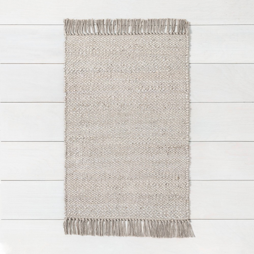 3' x 5' Bleached Jute Rug with Fringe Gray - Hearth & Hand with Magnolia was $34.99 now $17.49 (50.0% off)