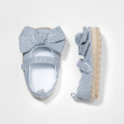 Baby Girls' Bow Crib Shoes - Cat & Jack™ Blue 3-6M