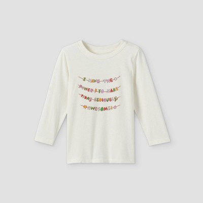 Toddler Boys' 'Awesome Power' Graphic Long Sleeve T-Shirt - Cat & Jack™ Cream