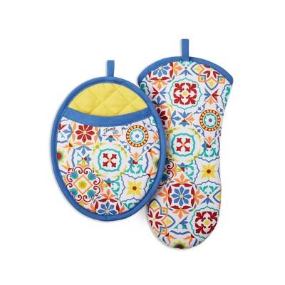 2pc Cotton Worn Tiles Pot Holder and Oven Mitt Set Orange/Blue - Fiesta