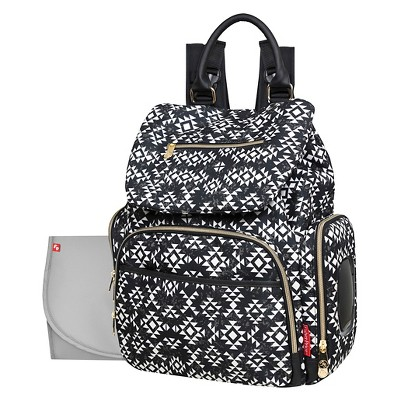 Fisher-Price Shiloh Southwest Diaper Bag Backpack - Black/White