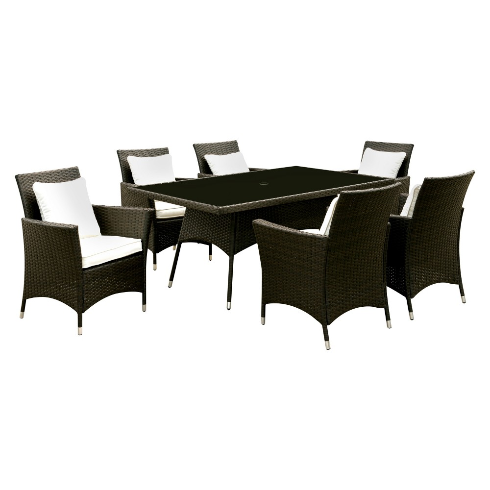 7pc Chadwick Rectangle All Weather Wicker Patio Dining Set - Brown/White - miBasics