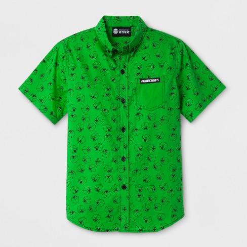 dfce23f3 Boys' Minecraft Short Sleeve Button-Down Shirt - Green S : Target