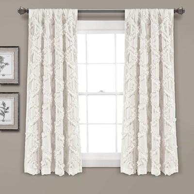 Set of 2 Ruffle Diamond Light Filtering Window Curtain Panels - Lush Décor