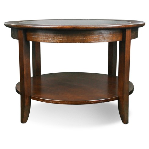 Solid Wood Round Gl Top Coffee Table Chocolate Oak Finish Leick Home Target