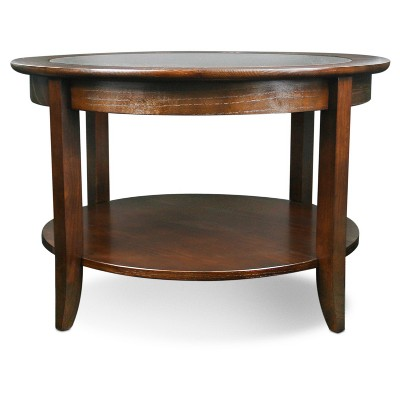 Marvelous Solid Wood Round Glass Top Coffee Table   Chocolate Oak Finish   Leick  Furniture
